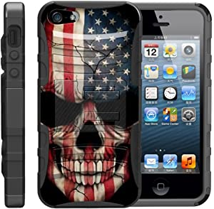 TurtleArmor | Compatible with Apple iPhone SE Case | iPhone 5/5s Case [Hyper Shock] Hybrid Dual Layer Armor Holster Belt Clip Case Kickstand - US Flag Skull