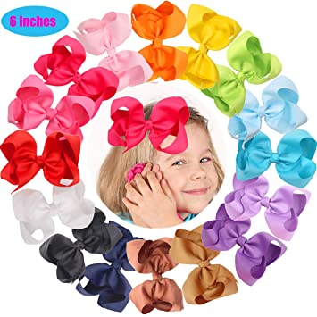 Amazon Com 16 Pcs 6 Inch Hair Bows Clips Baby Girls Toddlers Big