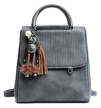 Himaleyaz doble metal mango superior mochila para niñas mujeres bolso de hombro bolso con encantador bolso encanto gris: Amazon.es: Equipaje