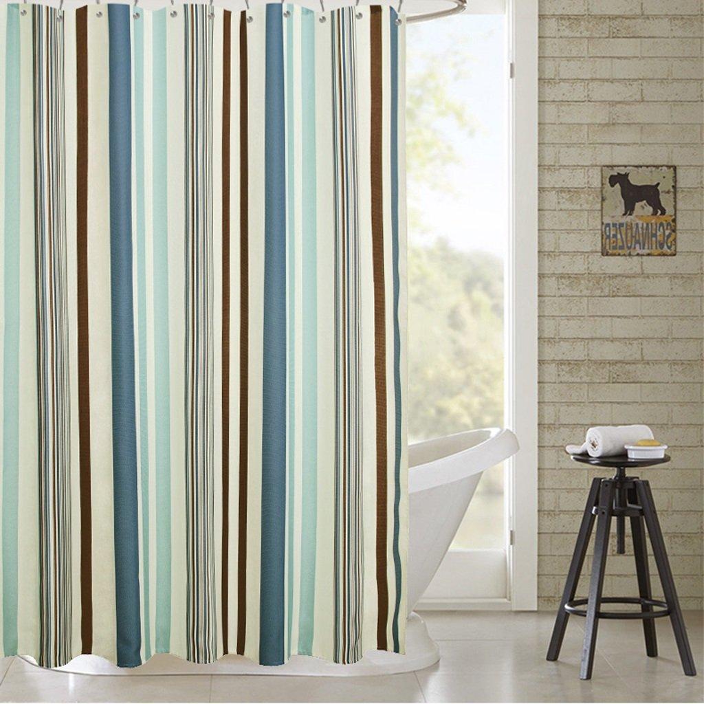Curtain European Romantic Striped Shower Curtain Waterproof Prevent Moldy Shower Curtain Shower Equipment (Size : 120200cm)