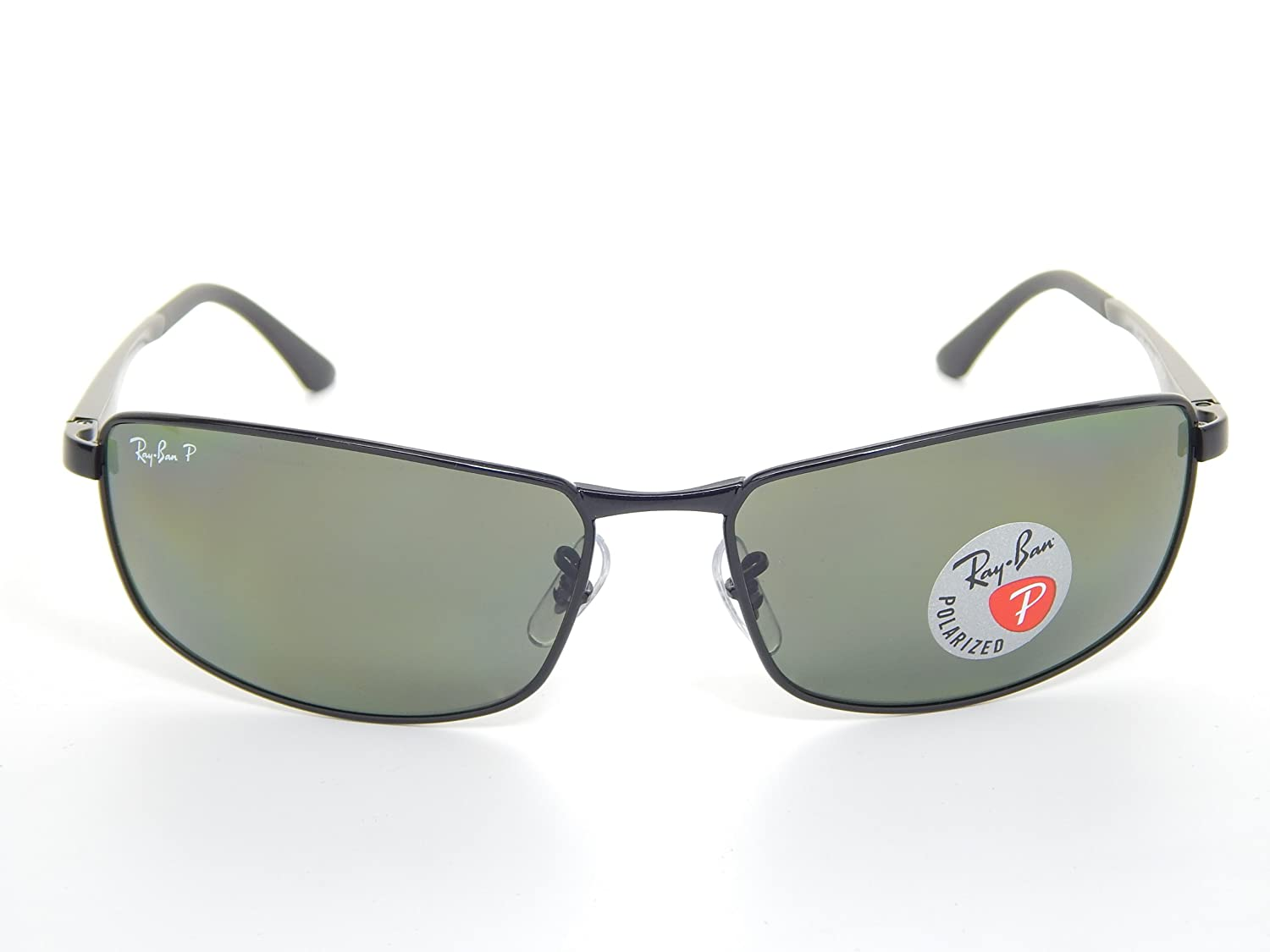 750eaf45d7 Amazon.com  New Ray Ban RB3498 002 9A Black Polarized Green 64mm  Sunglasses  Clothing