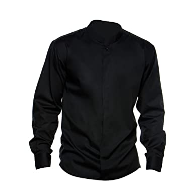 Amazon.com: Bargear Mens Long Sleeved Mandarin Collar Bar Shirt ...