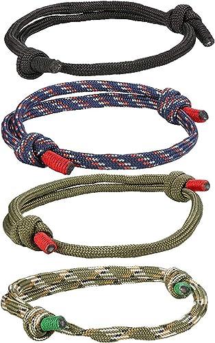 CASSIECA 4 Piezas Náuticas Pulseras Trenzadas para Hombres Brazalete Marina Cuerda Cadenas Pulsera Ajustable: Amazon.es: Joyería