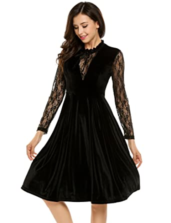 10c39ac212235 Meaneor Women Vintage Floral Long Sleeve Velvet Lace Patchwork Cocktail  Party Pleated Dress: Amazon.co.uk: Clothing