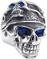 Homme Bague - SODIAL(R)Bijoux Bague Homme - Gothique Tribal Tete de mort - Acier Inoxydable - Anneaux - Fantaisie - pour Homme - Couleur Bleu Argent - Taille 57