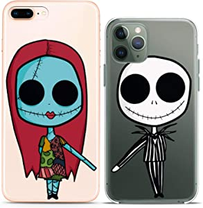 Cavka Matching Couple Cases Replacement for iPhone 12 Pro 5G Mini 11 Xs Max 6s 8 Plus 7 Xr 10 SE X 5 Clear Nightmare Undead Couple Forever Christmas Girlfriend Her Relationship Silicone Cover Cute