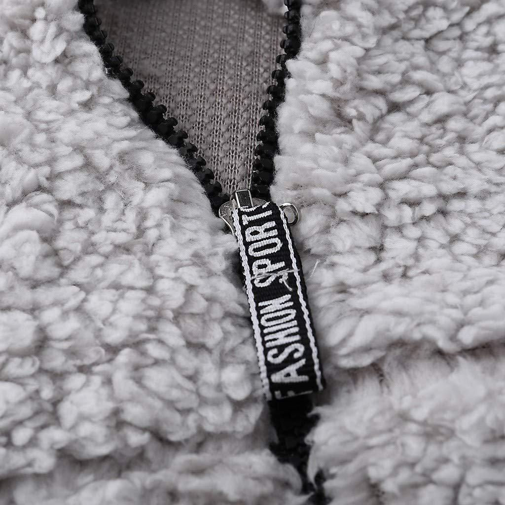 ASOBIMONO Womens Warm Fleece Fluffy Sherpa Jacket 1//4 Zip Pullover Sweater Sweatshirt Top