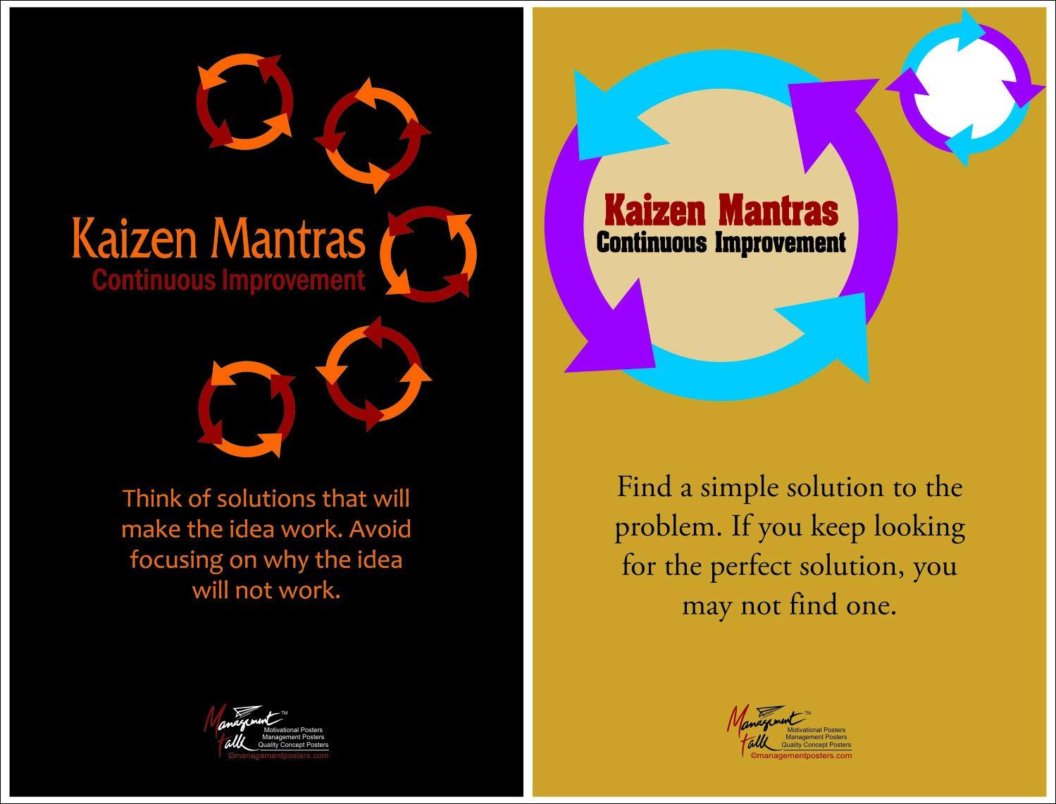 Amazon.com: Juego de 2 de pared carteles en kaizen – Mejora ...