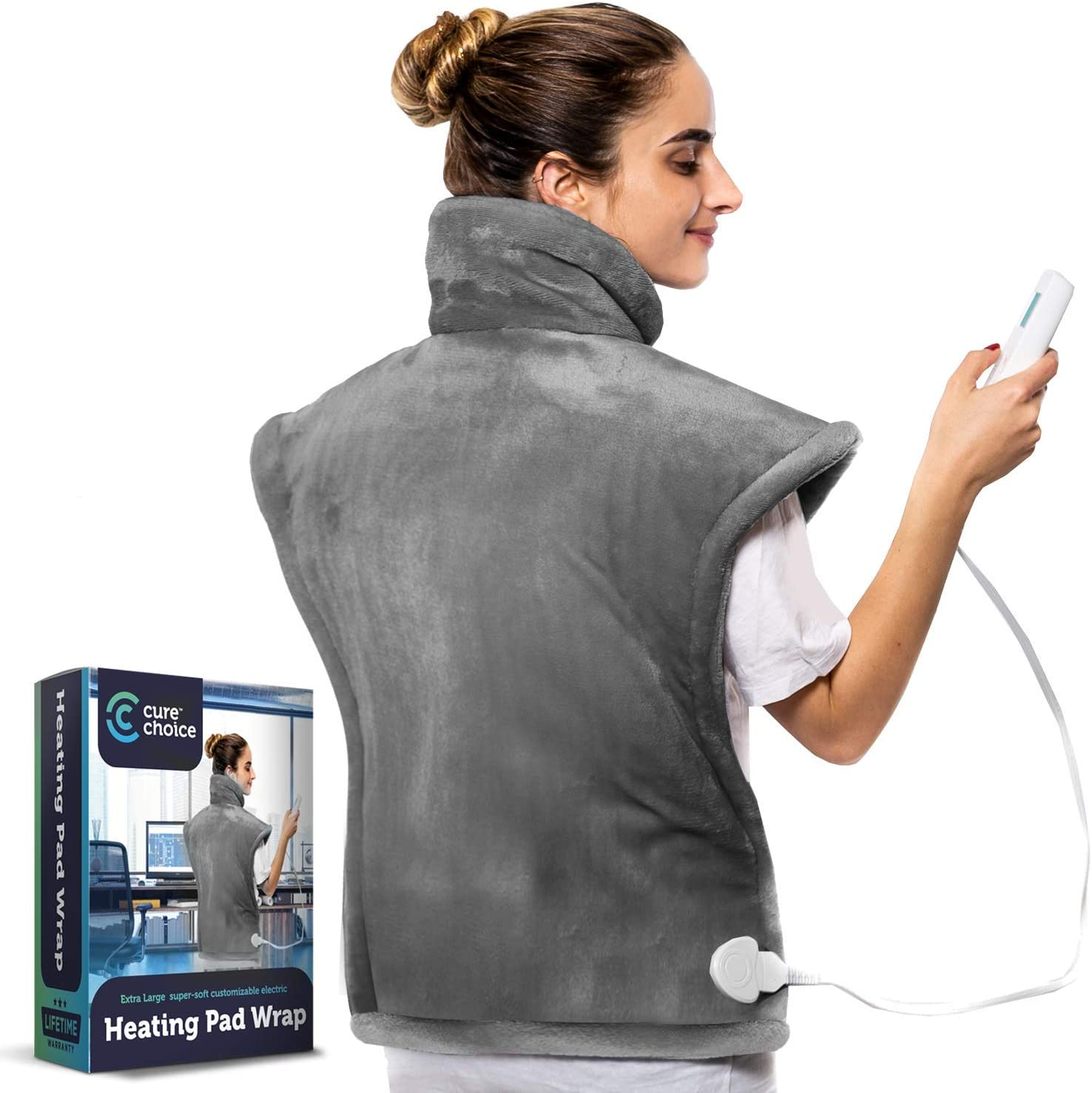"""Cure Choice XL Electric Heating Pad for Back Pain Relief, Ultra Soft 24""""x33"""" Heating pad for Muscle Cramps – Heated Pad with Adjustable Temperature Settings, Safe Auto Shut (Grey)"""