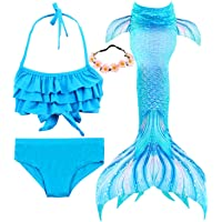 Garlagy 3 Pcs Girls Swimsuit Mermaid Tails for Swimming Bikini Set Bathing Suit Swimmable Can Add Monofin for 3-14Y