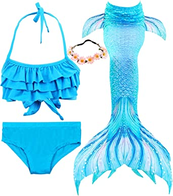 Lurwsuit Girls 4 Pcs Swimsuits Mermaid Tails For Swimming Costume Bikini Bathing Suit Set For Toddler