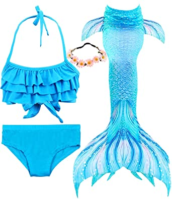 958602ada1 Amazon.com: Garlagy 3 Pcs Girls Swimsuit Mermaid Tails for Swimming Bikini  Set Bathing Suit Swimmable Can Add Monofin for 3-14Y: Clothing