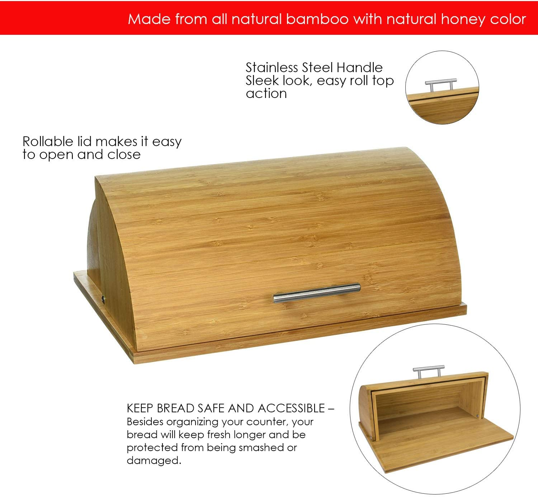 Amazon Com Home Basics Bamboo Bread Box Food Savers Kitchen Dining