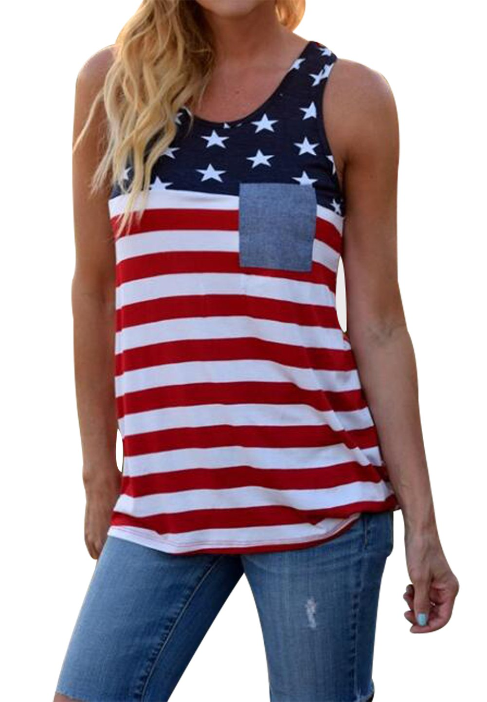 UNIQUEONE Womens American Flag Tank Patriotic Shirt Sleeveless Tunic 4th of July Flag Blouse Tops Size S (Stripe)