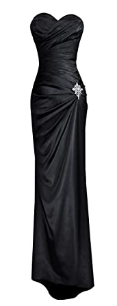 Amazon.com: Fiesta Women's Strapless Long Satin Bridesmaids Dress ...