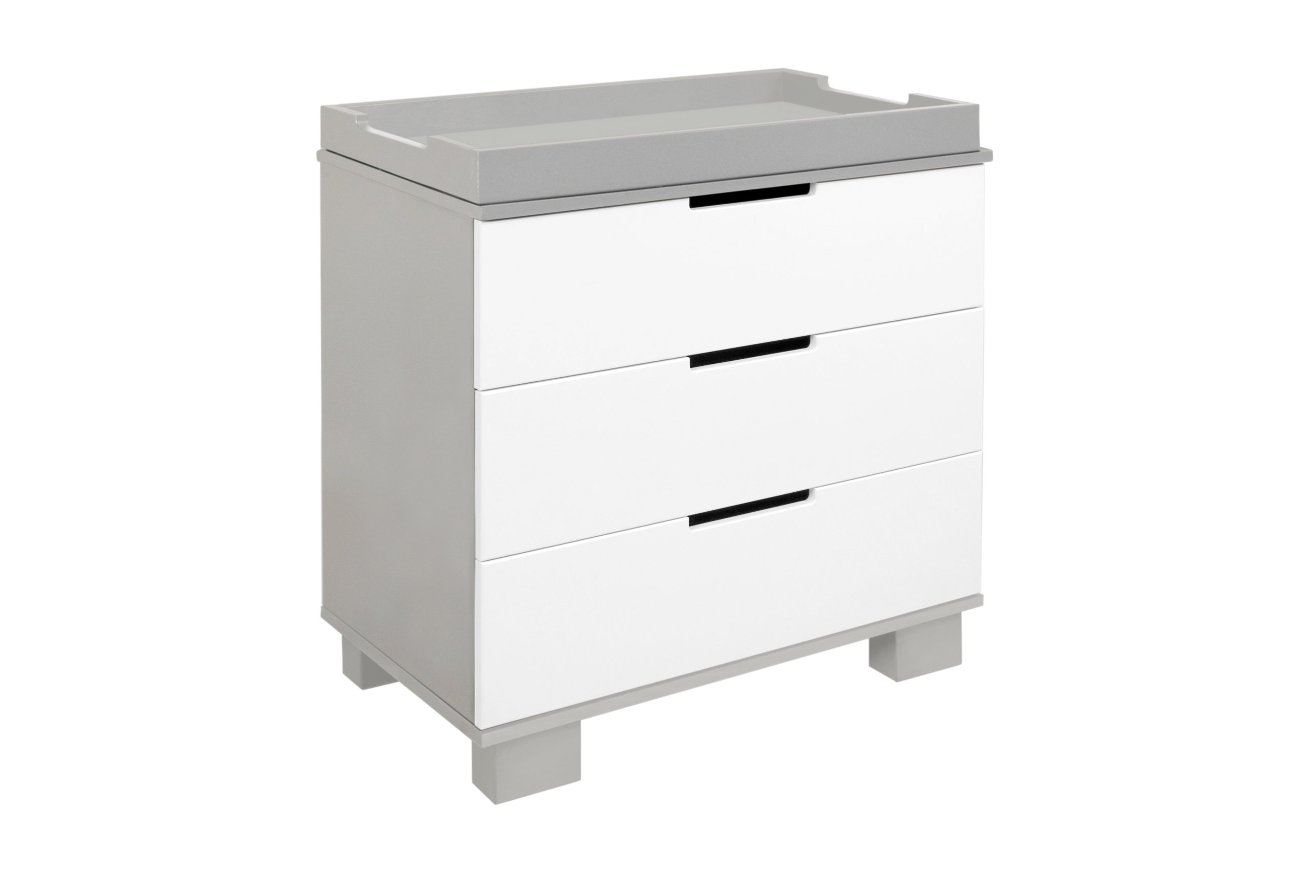 Babyletto Modo 3-Drawer Changer Dresser with Removable Changing Tray, Grey / White