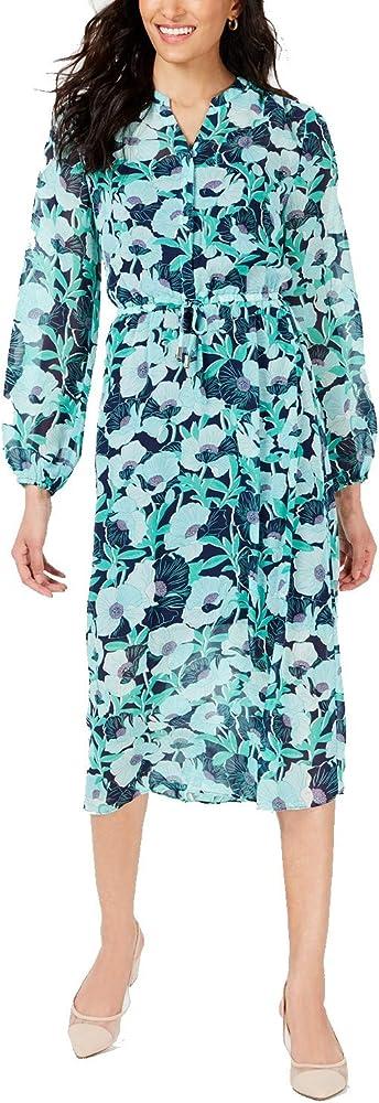 Maison Jules Womens Floral Print Blouson Casual Dress