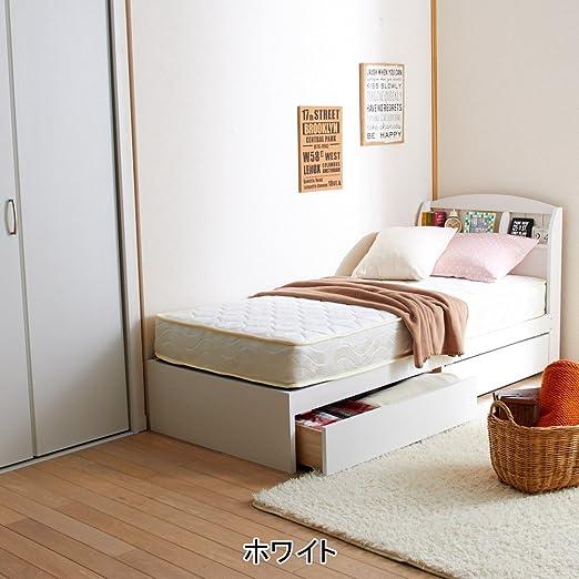 Amazon|【大型】大量収納ベッド(シングル・本体のみ) ホワイト ...