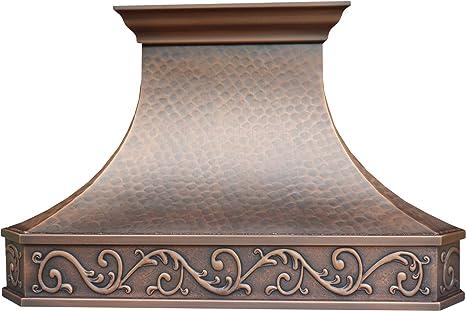 Campana de cocina de cobre con soplador centrífugo de alto flujo de aire, incluye forro SUS 304 y filtro de deflector, motor de ventilación de alto CFM: Amazon.es: Grandes electrodomésticos