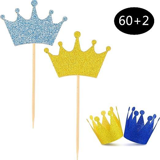 60 piezas de coronas azules doradas para decoración de ...