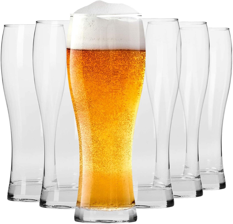 Krosno Altos Vasos Copas de Cerveza | Conjunto 6 Piezas | 500 ML | Chill Collection Uso en Casa, Restaurante y en Fiestas | Apto para Microondas y Lavavajillas