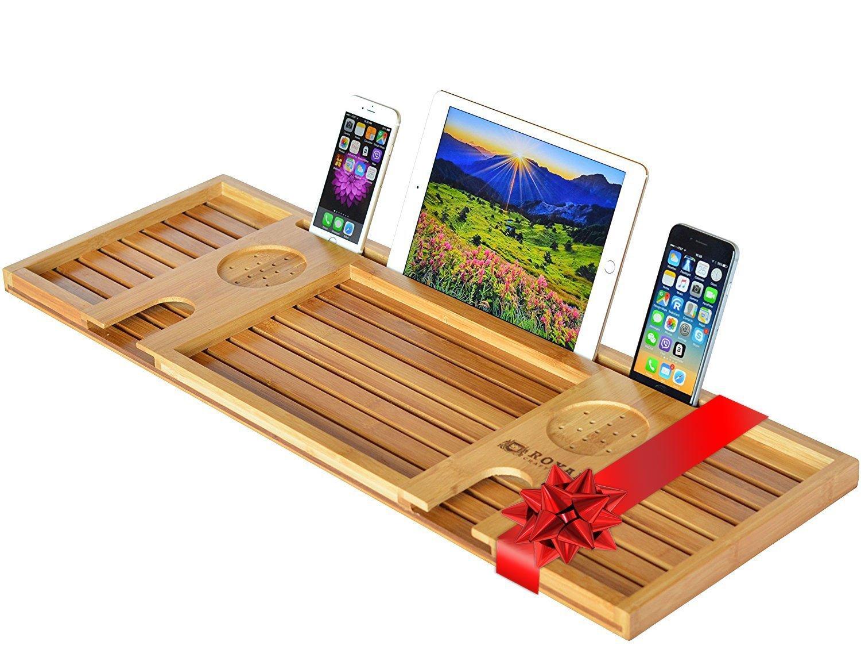 Royal Craft Wood Natural Bamboo Bathtub Caddy/Bath Serving Tray for 2: Him and Her - Luxury Bathtub Accessories Set RCW-02