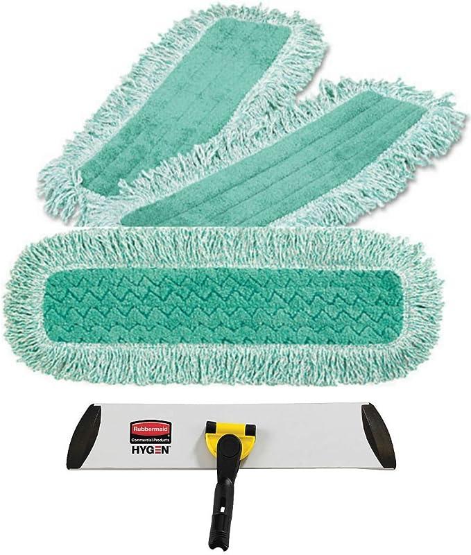 "Rubbermaid Commercial Q418 Hygen 18/"" Microfiber Dust Pad w//Fringe Lot of 2"