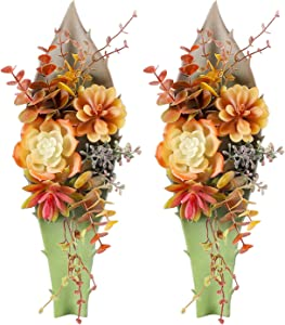 Hecaty Artificial Succulent Wall Decor Arrangement, Artificial Agave Eucalyptus Plants for Home Office Hotel Restaurant Bookstore Indoor Decor(Set of 2)