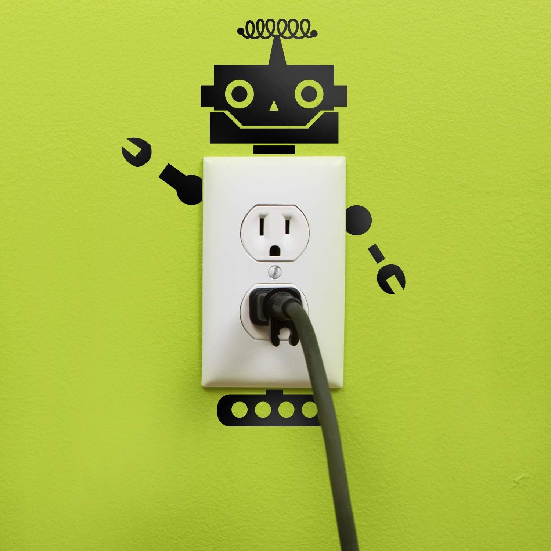 Vinyl Wall Art Decal - Wired Antenna Robot - Cool Home Apartment Kids Bedroom Nursery Playroom Light Switch Decor - Laptop Computer Skin Car Bumper Sticker Designs