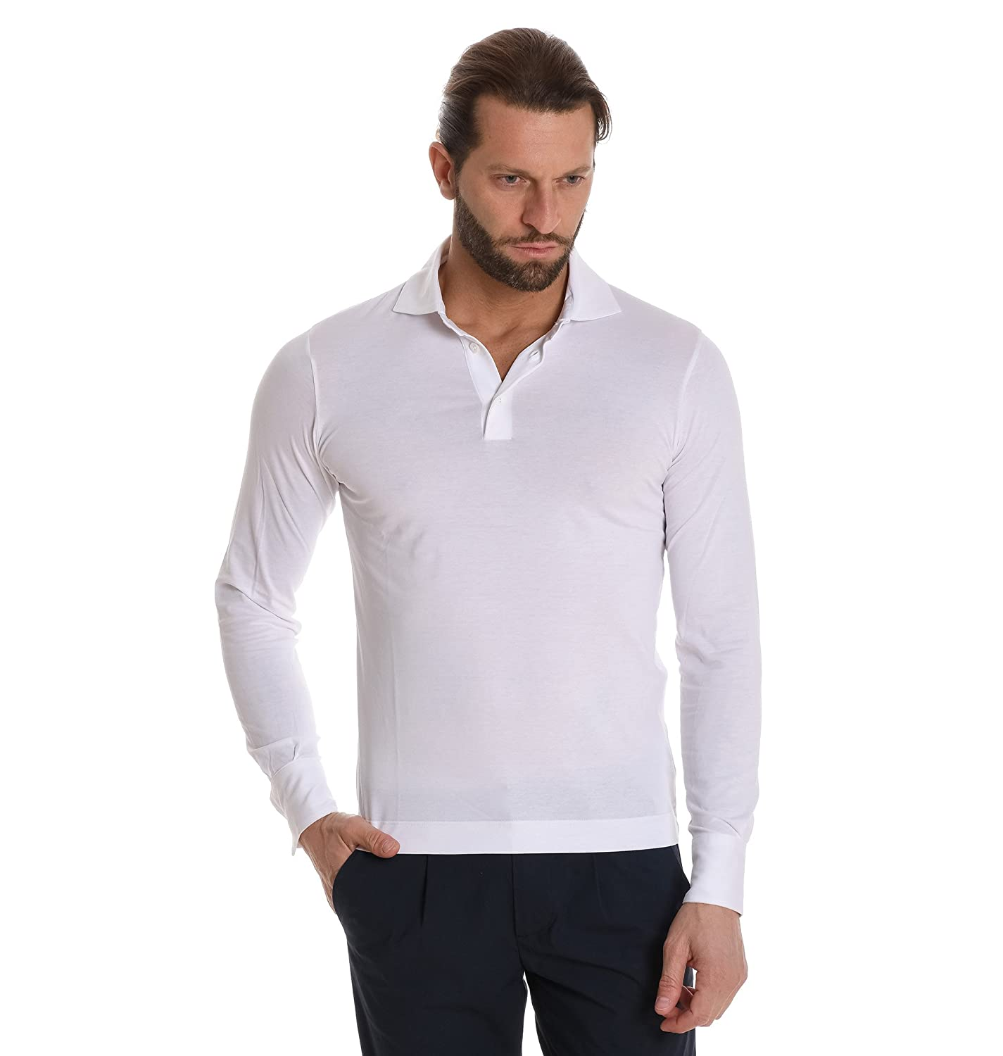 save off 4da07 1c068 CRUCIANI Men's Cujosp020001 White Cotton Polo Shirt at ...
