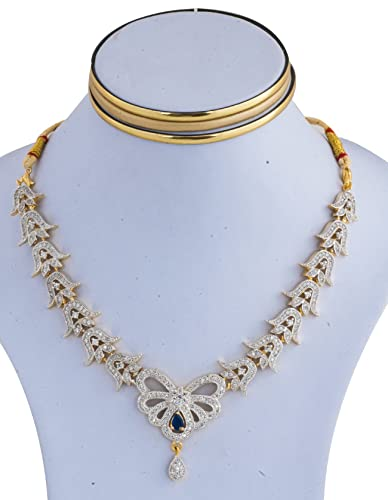 33f38483933 Indian Traditional Bollywood Designer AD & CZ Ethnic 22K Gold Plated  Necklace Set with Earrings for Girls & Women (GSN009B): Marvel Jewelry:  Amazon.in: ...