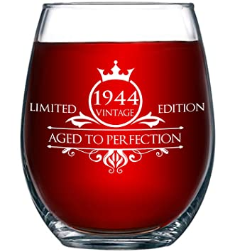 1944 75th Birthday Gifts For Women And Men Wine Glass