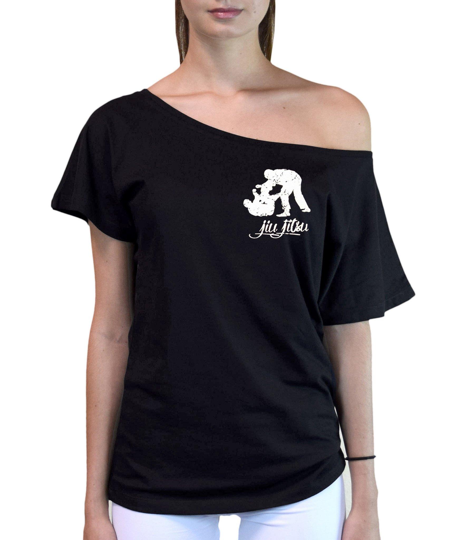 Junior's MMA Jiu Jitsu Emblem Off-Shoulder T-Shirt Medium Black