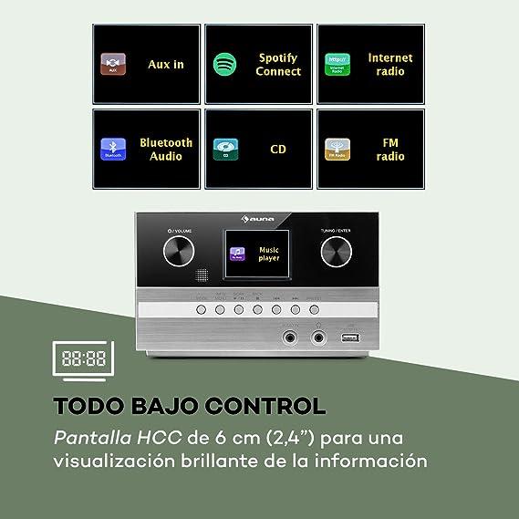 AUNA Connect System S Equipo de música - 2 Altavoces estéreo, Radio por Internet/Dab+/FM, Reproductor de CD, Puerto USB, Compatible con MP3, ...