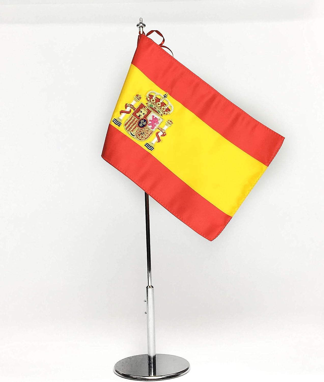ABBE Global Bandera de Mesa Bordada de España 15x25 y mástil: Amazon.es: Hogar
