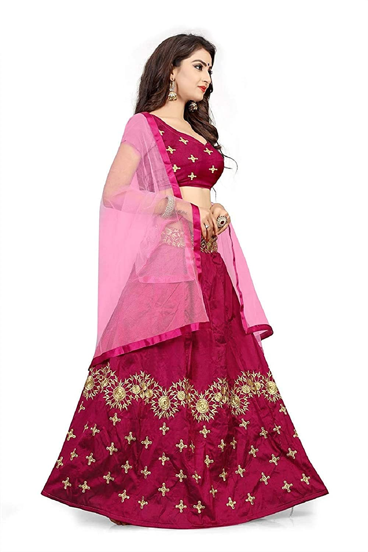 8ab164112d Globatic Creation Women's Silk Semi-Stitched Lehenga Choli Free Size  (Pink): Amazon.in: Clothing & Accessories