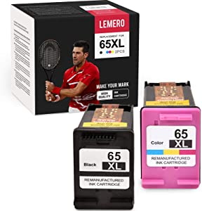 LEMERO Remanufactured Ink Cartridge Replacement for HP 65 65XL Work with DeskJet 3755 3752 2622 3720 3722 Envy 5055 5010 5020 (Black Tri-Color, 2 Pack)