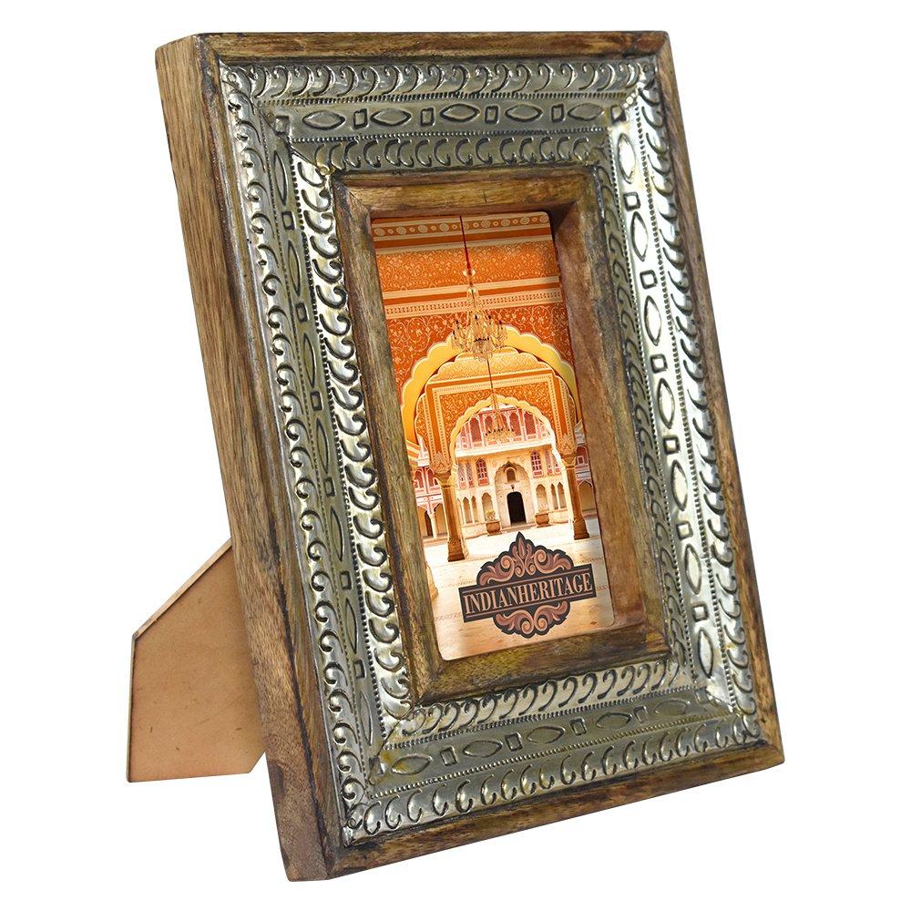 Indian Heritage Wooden Photo Frame 4x6 Dark Mango Wood Distress with Metal Cladding