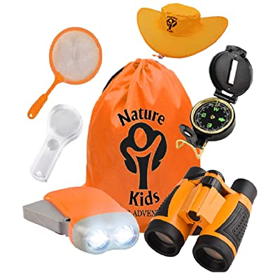 Adventure Kids - Outdoor Explorer Kit, Children Binoculars, Flashlight, Compass, Magnifying Glass, Butterfly Net & Backpack. Great Toys Kids Gift for Boys & Girls Age 3-10 Year Old Camping Educational: Toys & Games