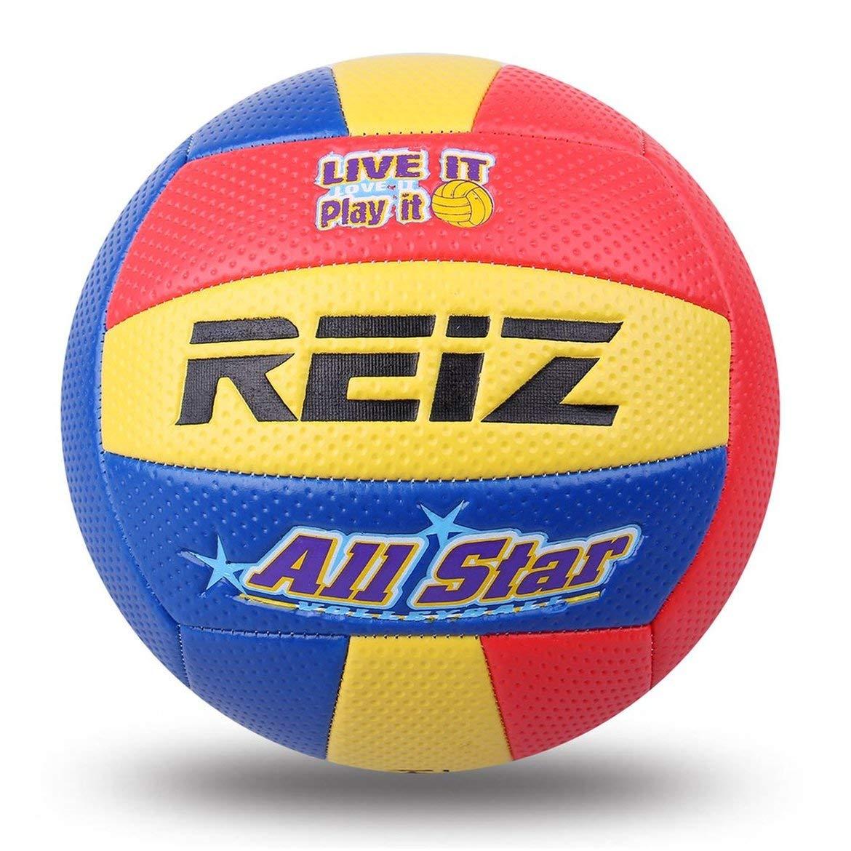JohnJohnsen Soft Touch PU # 5 Bola del Voleibol al Aire Libre Cubierta de Formación competición estándar Bola del Voleibol para los Estudiantes (Amarillo y Rojo y Azul)