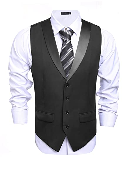 COOFANDY Men's Suit Vest Slim Fit Casual Skinny Dress Waistcoat at ...