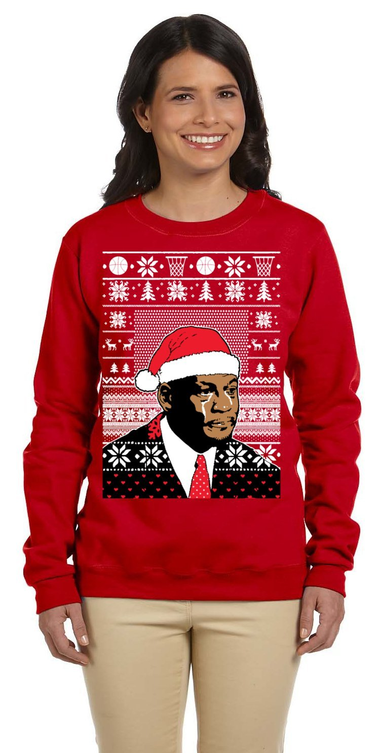 Passion Approach Womens Jordan Crying Meme Plus Size Ugly Christmas Sweater 3X-Large Red
