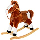 HOMCOM Children Child Kids Plush Rocking Horse with Sound Handle Grip Traditional Toy Fun Gift Brand New (Brown)