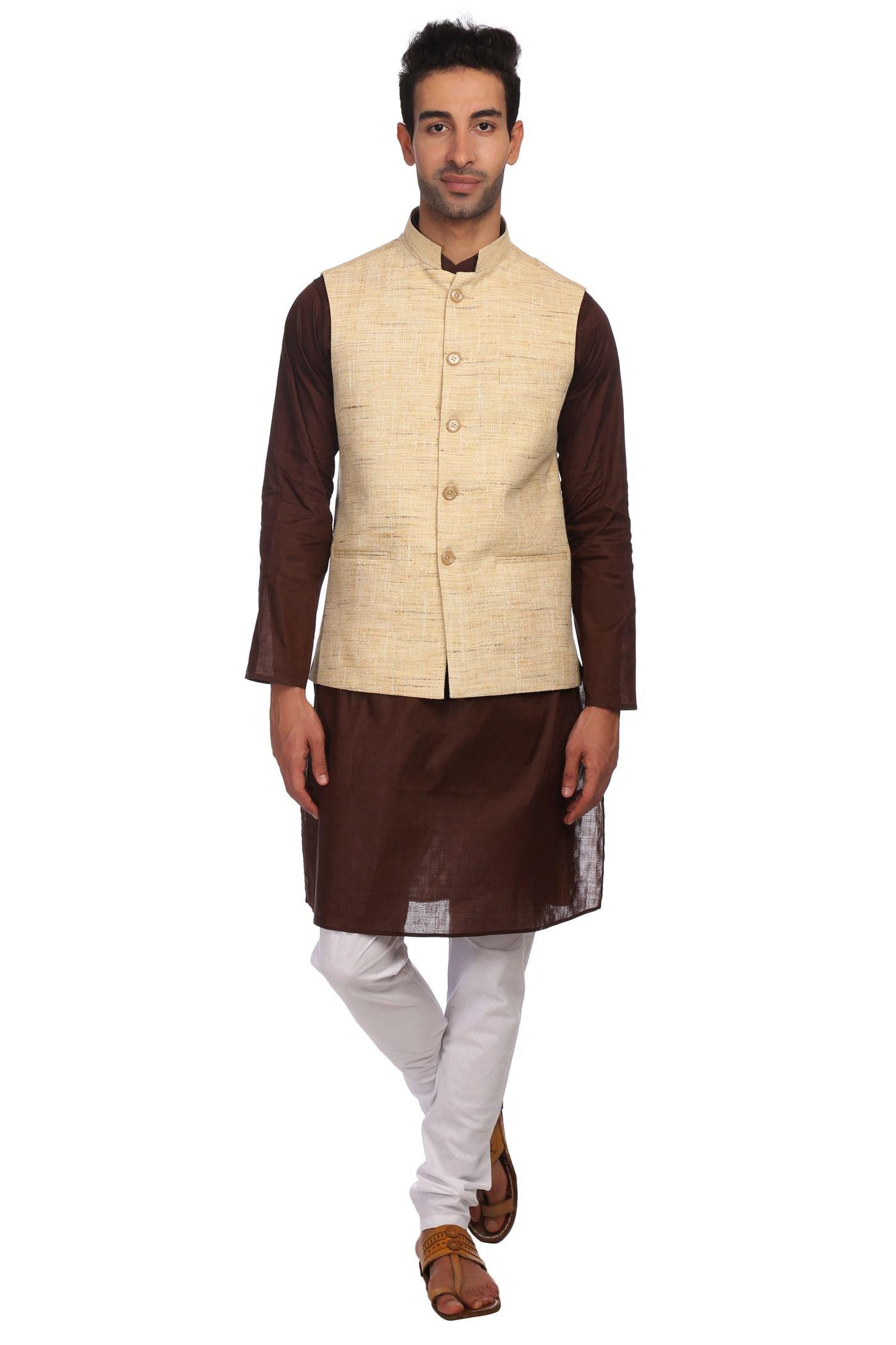 WINTAGE Men's KhadiBeige Nehru Jacket Waistcoat and 100% Cotton Brown Kurta Pajama Indian Ethnic Set : Small by WINTAGE