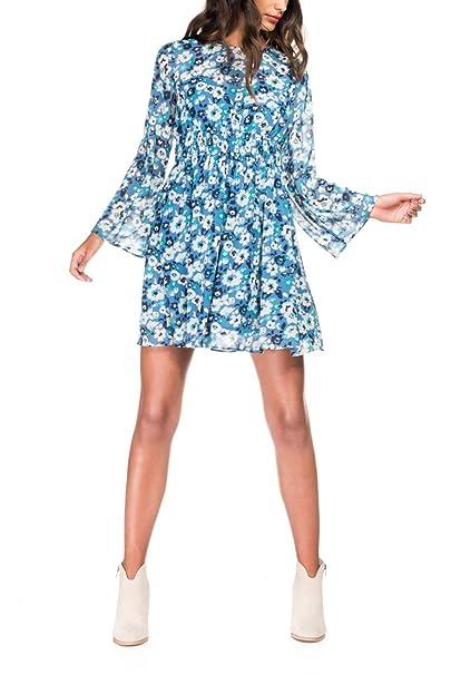 SALSA Vestido estampado de flores y manga campana