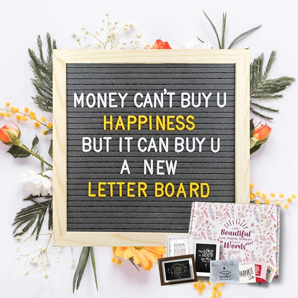 Felt Letter Board 10x10-340 Letters in 2 Colors (1 inch) + Cursive Days & Months + Symbols&Emojis + Felt Pouch Organizer + Bonus Gifts
