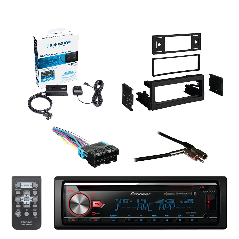 Pioneer CD Bluetooth Receiver W/Enhanced Audio Functions with SiriusXM Satellite Radio Vehicle Tuner Kit, Metra Dash Kit For GM Truck And Van 95-05, Metra Radio Wiring Harness, Metra Antenna Adapter