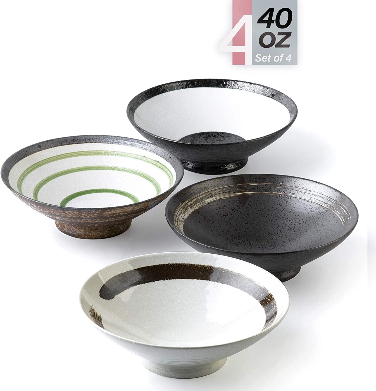 Porcelain Bowls – 40 Ounce Ceramic Large Bowl for Pasta, Cereal, Salad, Soup, Wide and Deep - Set of 4 in Hand Painted Pattern, Microwave and Dishwasher Safe