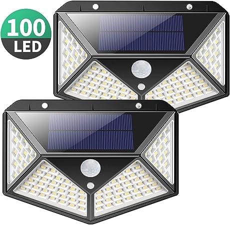 Luz Solar Exterior, Kilponen 100 LED Foco Solar Exterior Gran Ángulo 270° con Sensor de Movimiento 1800mAh Lámpara Solar Impermeable Solares de Pared de Seguridad 3 Modos para Jardín [2 Paquete]: Amazon.es: Hogar