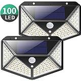 Luce Solare Esterno, Kilponen 100 LED Lampada Solare con Sensore di Movimento [270º Illuminazione 2 Pezzi] Luci Solari da Parete Impermeabile Solare LED con 3 Modalità per Giardino